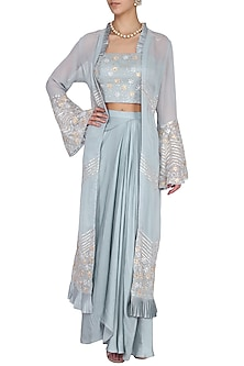 Stone Blue Embroidered Croptop, Draped Skirt and Jacket Set by Seema Thukral