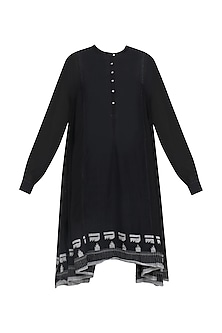 Black Printed Panelled Tunic