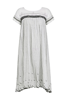 Grey and White Gingham Check Panelled Dress