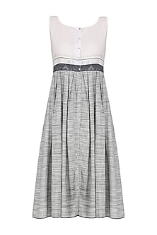 White and Grey Gingham Check Dress
