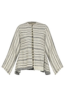 Grey and White Striped Pleated Jacket