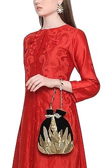 Gold And Black Embroidered Potli Bag