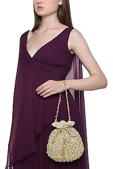 Gold Floral Embroidered Potli Bag