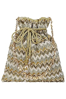 Multi-Coloured Zig Zag Embroidered Potli Bag by Inayat