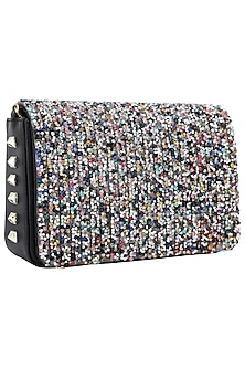 Multi-Coloured Sequins Embellished Flapover Clutch by Inayat