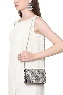 Multi-Coloured Sequins Embellished Flapover Clutch