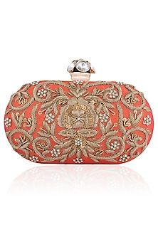 Rosy Coral Floral Zardozi Embroidered Oval Box Clutch by Inayat