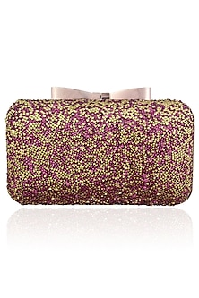 Pink and Gold Glitter Stones Box Clutch by Inayat