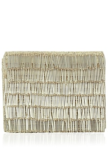 Faint Gold Rectangular Beads Tasseled Clutch by Inayat
