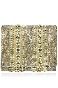 Gold Rectangular Metallic Chain Clutch by Inayat