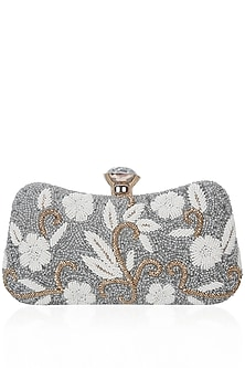 Grey Cutdana Box Clutch by Inayat
