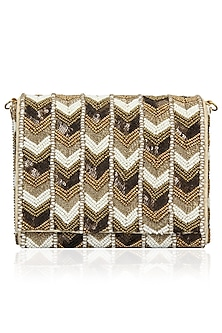 White, Gold and Copper Aztec Design Flap Over Clutch by Inayat
