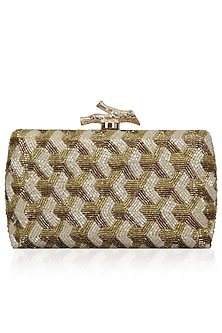 Gold and Ivory Embellished Box Clutch by Inayat