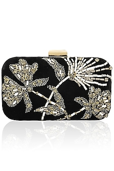 Black floral design velvet box clutch  by Inayat