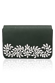 Deep emerald floral design magnetic flap over clutch by Inayat