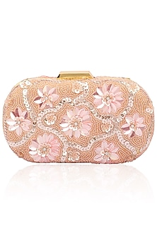 Blush tone on tone floral design box clutch by Inayat