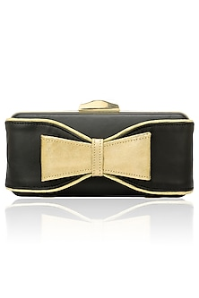 Black and gold hand bow clutch by Inayat