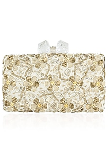 Ivory Floral Beads and Zardozi Work Box Clutch by Inayat