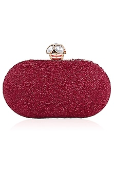 Red Bubble Stones Oval Box Clutch by Inayat