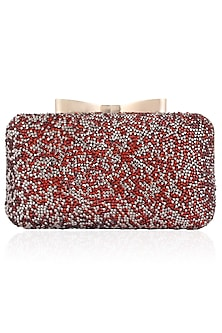 Red and Silver Glitter Stones Box Clutch by Inayat
