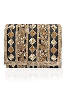 Midnight Blue and Antique Gold Embroidered Flapover Clutch by Inayat
