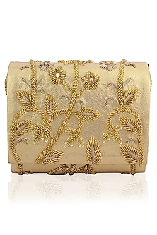 Gold Beads and Dabka Floral Embroidered Flapover Clutch by Inayat