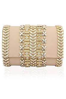 Nude Peach and Gold Metallic Belt Flapover Clutch by Inayat