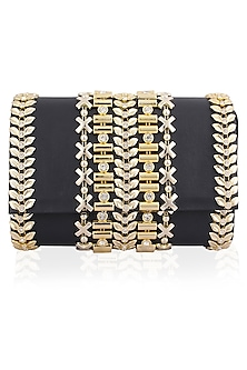 Midnight Blue and Gold Metallic Belt Flapover Clutch by Inayat