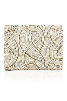 Ivory, Silver and Gold Swarovski Work Flapover Clutch by Inayat