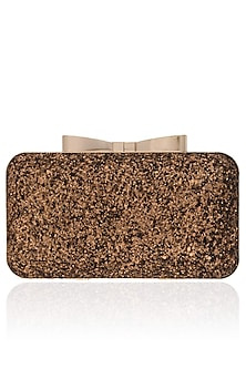 Copper Sequinned Box Clutch by Inayat