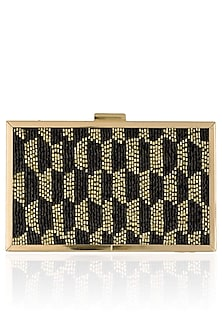 Black And Gold Cutdaana Embroidered Box Clutch by Inayat