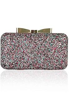 Multicoloured glittersheet rectangular box clutch by Inayat