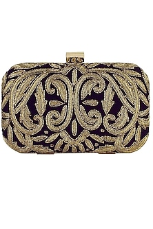 Wine and gold zardozi embroidered box clutch by Inayat