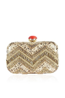 Off white and gold zigzag pattern embroidered box clutch by Inayat
