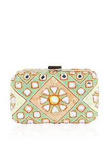 Mint green and peach sequins and mirror work box clutch by Inayat