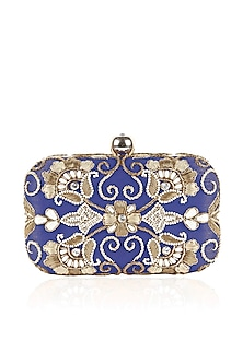 Blue and gold zardozi and pearl embroidered box clutch by Inayat