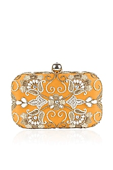 Yellow gold zardozi and pearl embroidered box clutch by Inayat