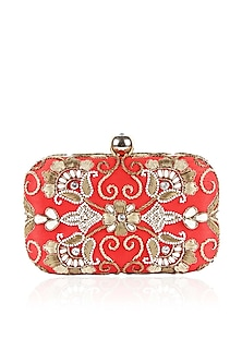Red and gold zardozi and pearl embroidered box clutch by Inayat