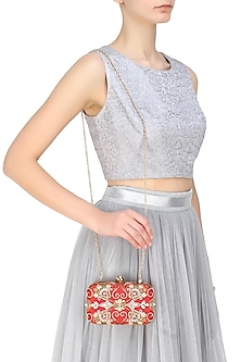 Red and gold zardozi and pearl embroidered box clutch