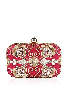 Wine and gold zardozi and pearl embroidered box clutch by Inayat