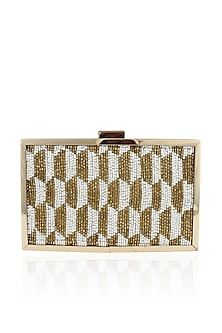 Ivory and gold cutdana embellished box clutch by Inayat