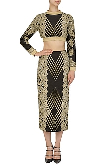Black and Gold Lace Print Embroidered Sweatshirt by Intri Printi By Pooja Solanki