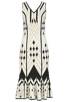 Ivory and Gold Printed Low Hem Dress