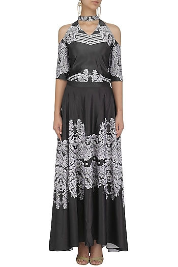 Black and Silver Embroidered Skirt with Cold Shoulder Top by Intri Printi By Pooja Solanki