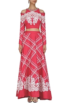 Ruby Pink Embroidered Crop Top with Printed Long Flare Skirt Set by Intri Printi By Pooja Solanki