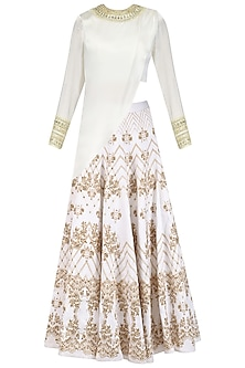 Ivory and Gold Drape Blouse and Lace Print Lehenga Set