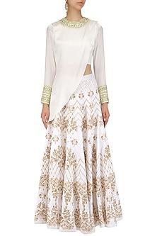 Ivory and Gold Drape Blouse and Lace Print Lehenga Set by Intri Printi By Pooja Solanki