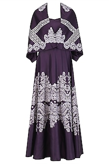 Deep Purple Lace Print Gown with Detachable Cape