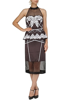 Black Embroidered Lace Print Peplum Dress by Intri Printi By Pooja Solanki