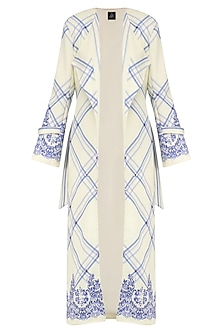 Ivory and Blue Lace Print Peplum Dress with Long Overcoat